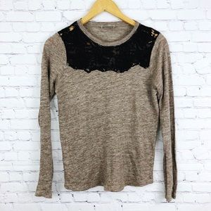 Zara W&B Collection Long Sleeve Lace  Sweater